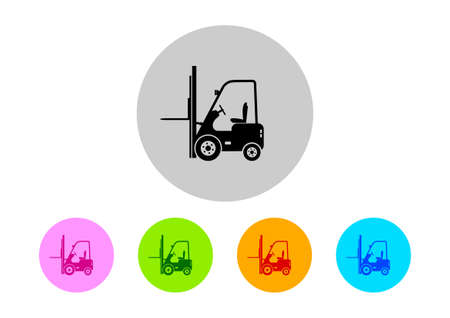 forklift truck: Colorful forklift truck icons on white background