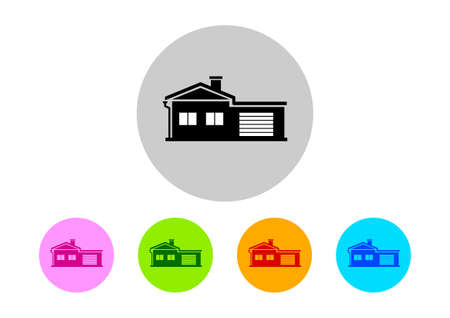 on white background: Colorful house icons on white background
