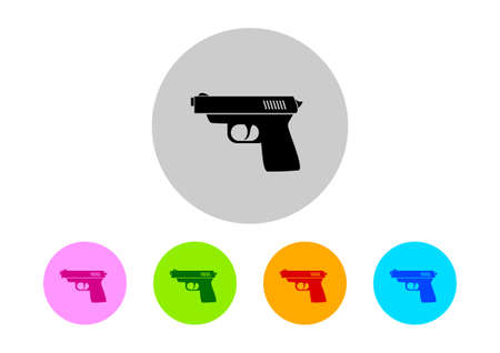 on white background: Colorful gun icons on white background