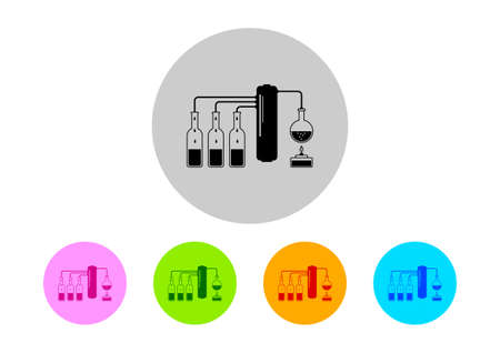 distill: Colorful scientific icons on white background Illustration