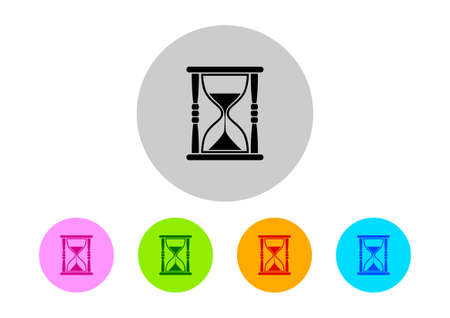 timepieces: Colorful hourglass icons on white background
