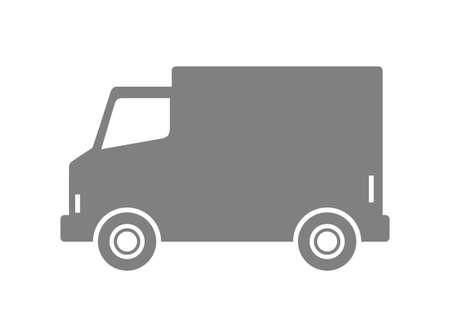 haulage: Grey delivery van on white background Illustration