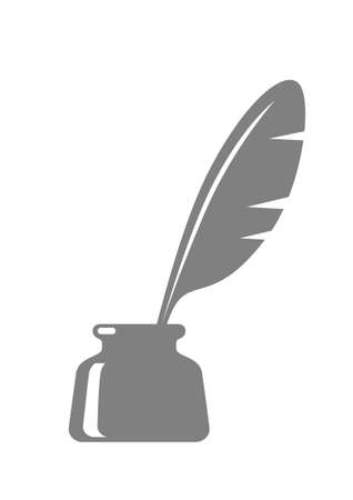 inkpot: Quill in inkwell on white background Illustration