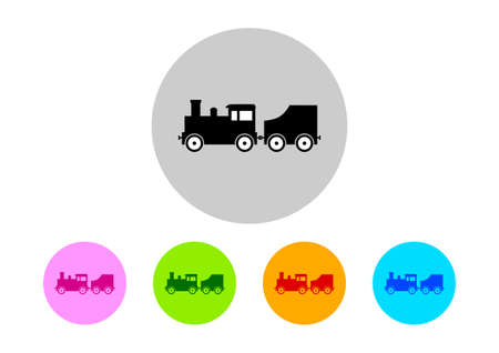 loco: Colorful train icons on white background