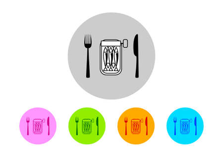 conserved: Colorful sardines icons on white background Illustration