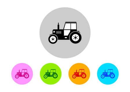 crop circles: Colorful tractor icons on white background Illustration