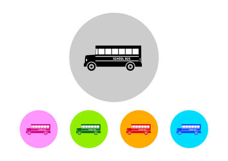 on white background: Colorful school bus icons on white background