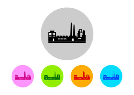 petrochemical: Colorful factory icons on white background Illustration