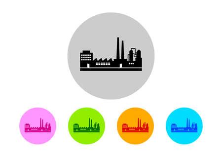 poison symbol: Colorful factory icons on white background Illustration