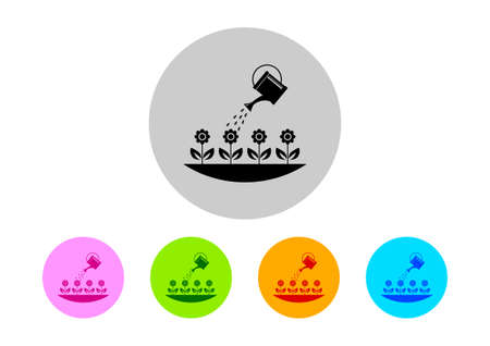 irrigation: Colorful garden icons on white background