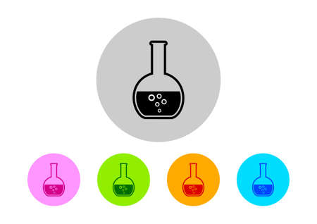 drug discovery: Colorful laboratory glass icons