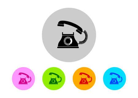 telephone icons: Colorful telephone icons on white background