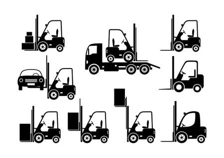 lift truck: Black forklift icons on white background