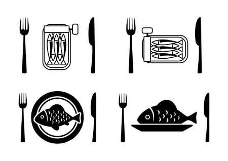 sardine: Schwarze Fisch-Symbole auf wei�em Hintergrund
