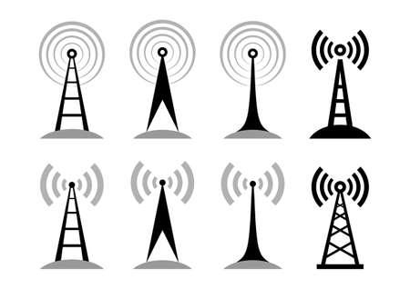 radio mast: Black transmitter icons on white background Illustration