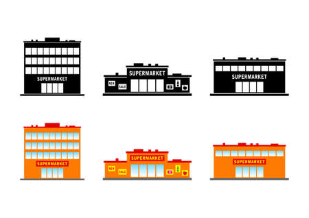 on white background: Supermarket icons on white background Illustration