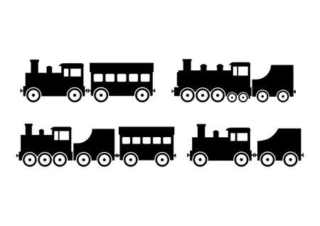 black train: Black train icons on white background Vectores