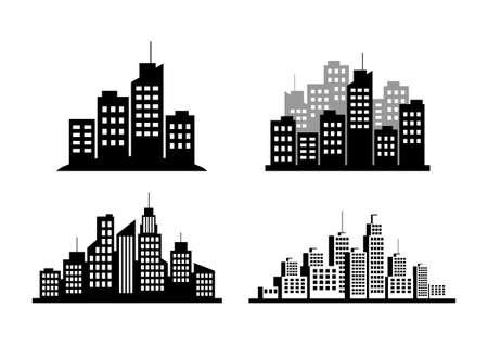 city background: Black city icons on white background Illustration