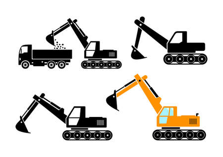 on white background: Excavator icons on white background Illustration