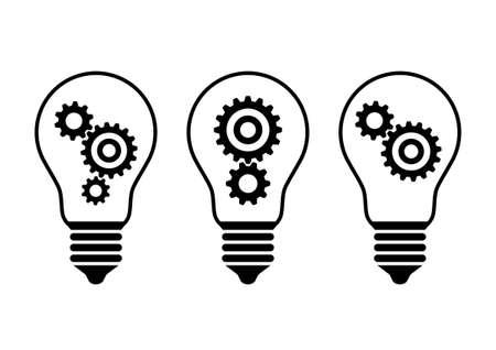 Schwarz Glühbirne Symbole auf weißem Hintergrund Standard-Bild - 46641678