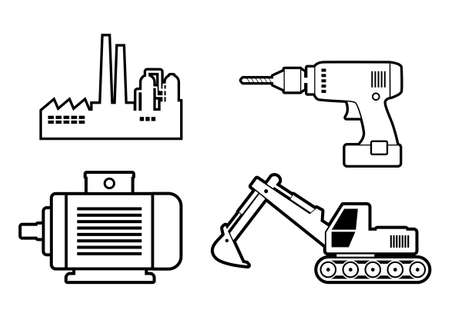 earthmover: Industrial icons on white background