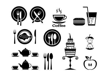 food icons: Food icons on white background