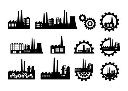 Black factory icons on white background Vectores