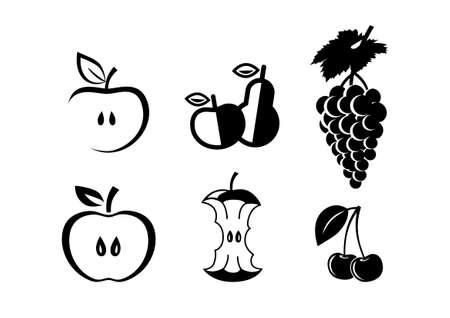 apple core: Black fruit icons on white background Illustration