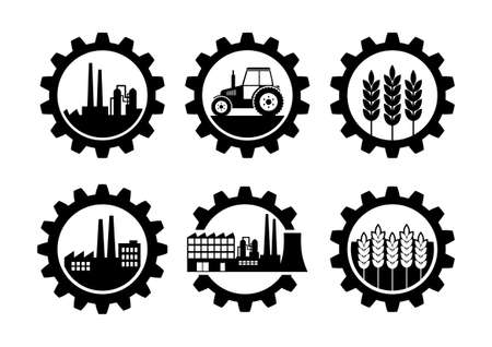 Black industrial icons on white background
