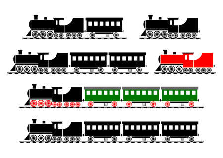 loco: Train icons on white background