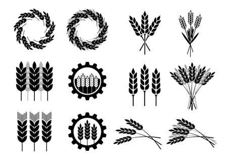 stalk: Black cereal icons on white background