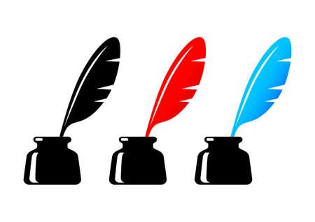 inkwell: Inkwell icons on white background Illustration