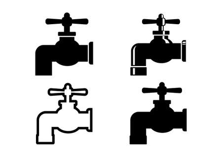 on white background: Faucet icons on white background