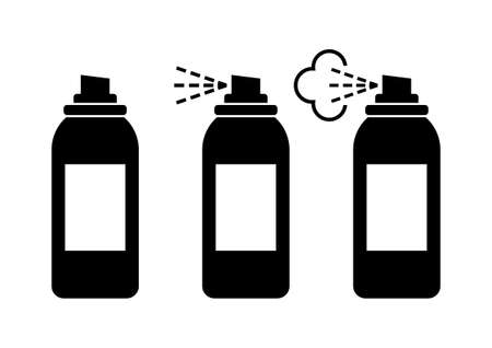 hairspray: Black spray can icons on white background Illustration