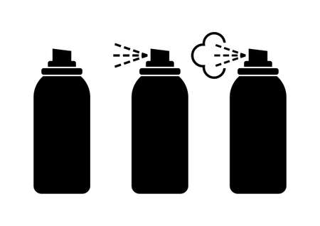hairspray: Black spray can icons on white background Vectores