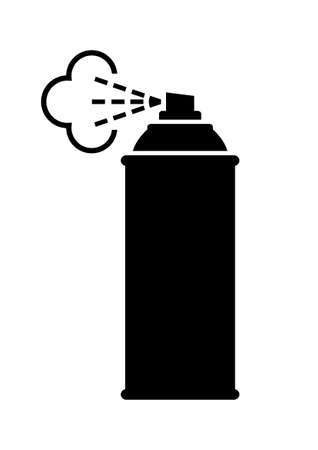 hairspray: Black spray can icon on white background Vectores