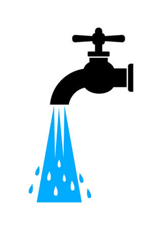water tap: Water tap icon on white background Illustration