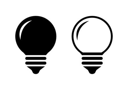 on white background: Black lightbulb icons on white background
