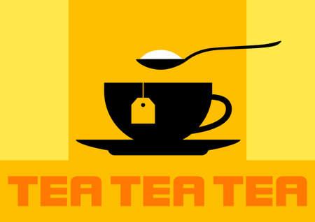 cuchara: Icono de la taza de té Vectores