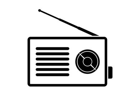 transistor: Radio icon on white background Illustration