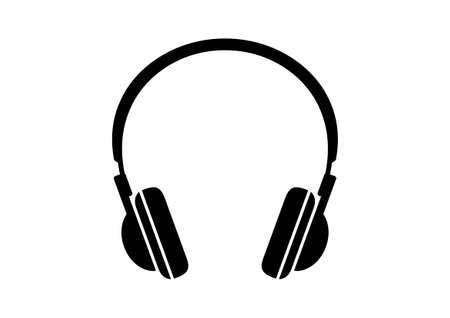 Black headphones icon on white background  イラスト・ベクター素材