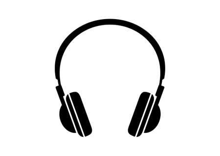 Black headphones icon on white background Ilustração