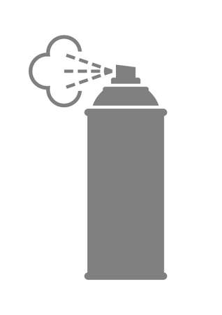 spray can: Grey spray can icon on white background