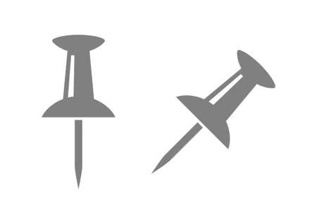 fastener: Grey pushpin icons on white background Illustration