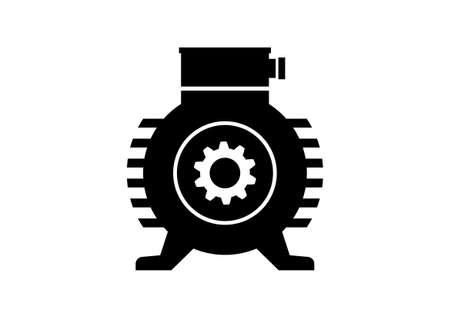 Icône moteur électrique sur fond blanc Vecteurs