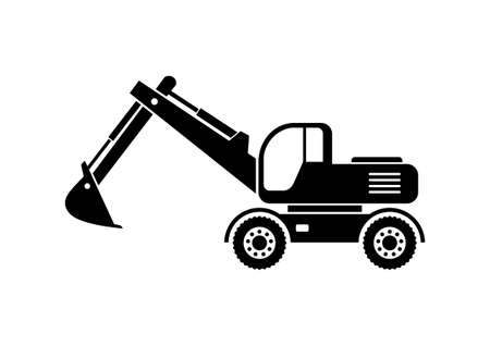 earthmover: Excavator icon on white background Illustration