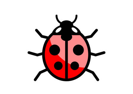 ladybird: Ladybird icon on white background Illustration