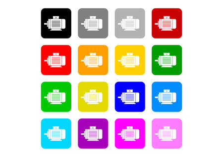 electric motor: Colorful electric motor icons on white background