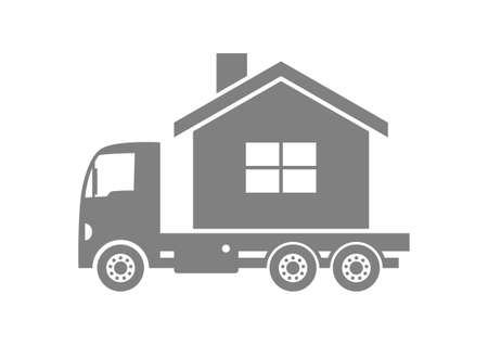 delivering: Grey truck with house on white background Illustration