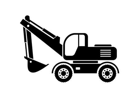 earthmover: Excavator vector icon on white background